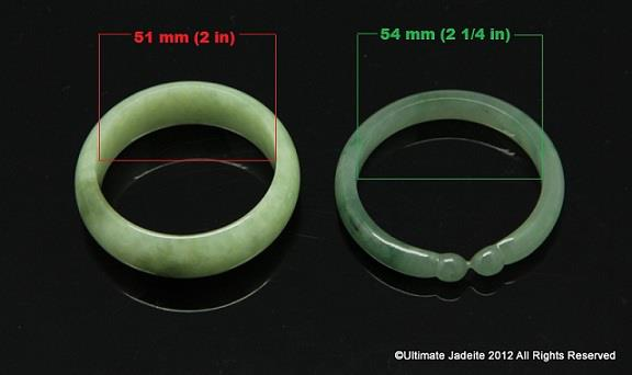 2 Jade Bangles With Diffe Size